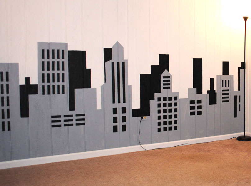 Painting a skyline wall mural for Chicago skyline wall mural