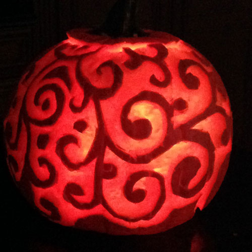 carved pumpkins swirl pattern