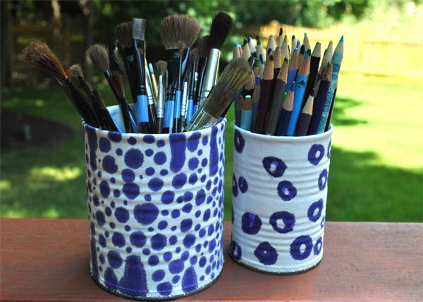 blue and white tin can craft project