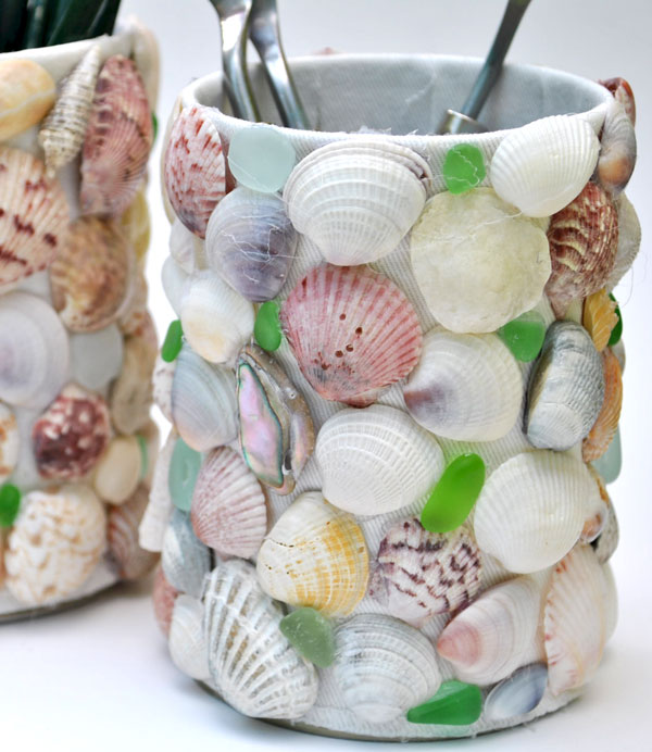 sea shell sea glass craft pot