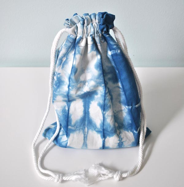 shibori drawstring bag