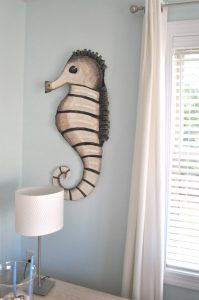 cardboard sea horse sculpture
