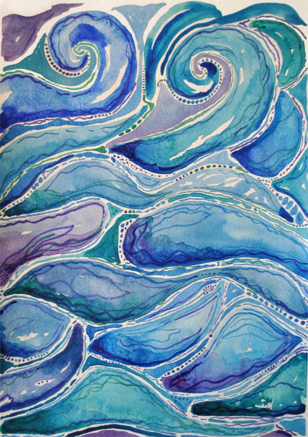 watercolor abstart oceam