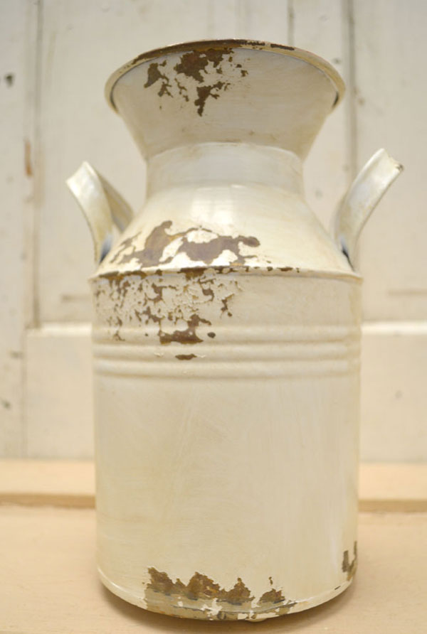 rustic white milk can
