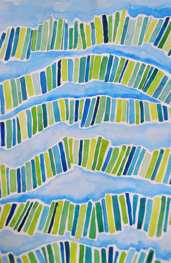 watercolor painting abstract lines