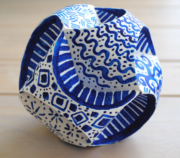 blue and white paper orb