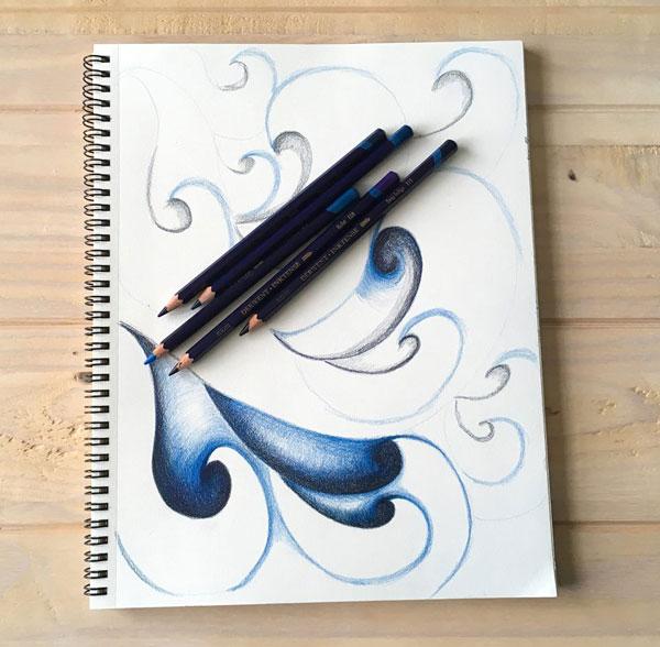 blue waves art progress