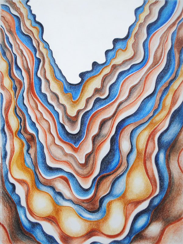 rock strata abstract art in INKense colored pencil