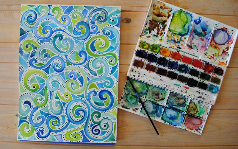watercolor spiral