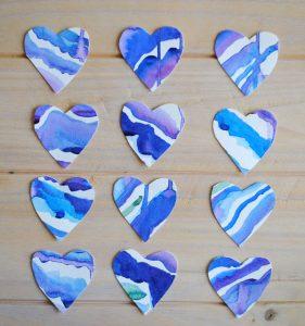 watercolor heart valentine card