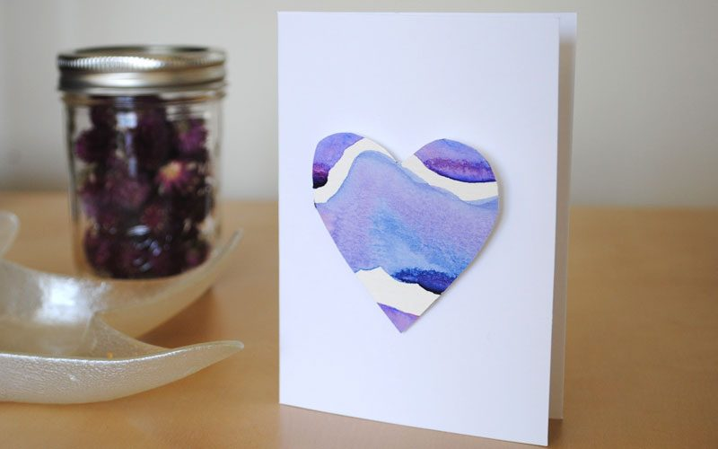 watercolor heart valentine card