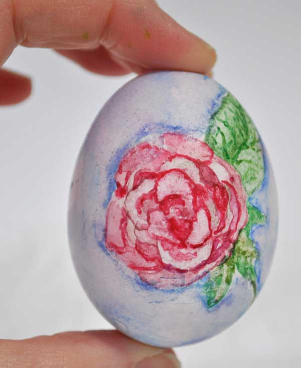 rose watercolor easter egg