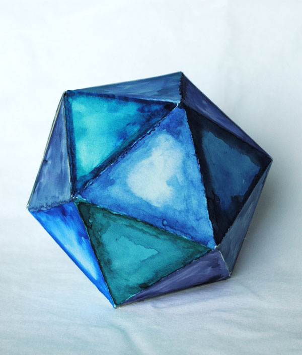 icosahedron watercolor 3d shape
