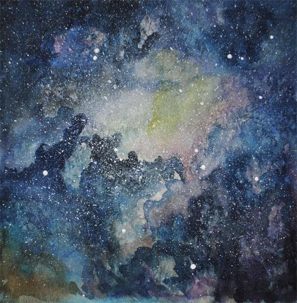 watercolor galaxy- painting