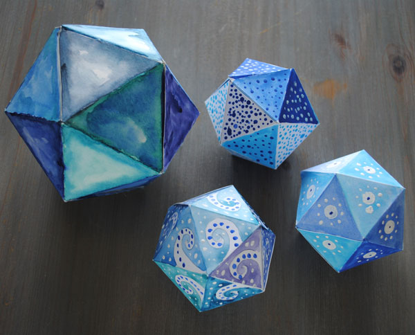 icosahedron watercolor 3d decor