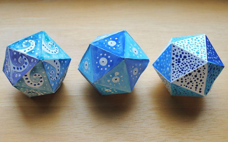 icosahedron watercolor decor