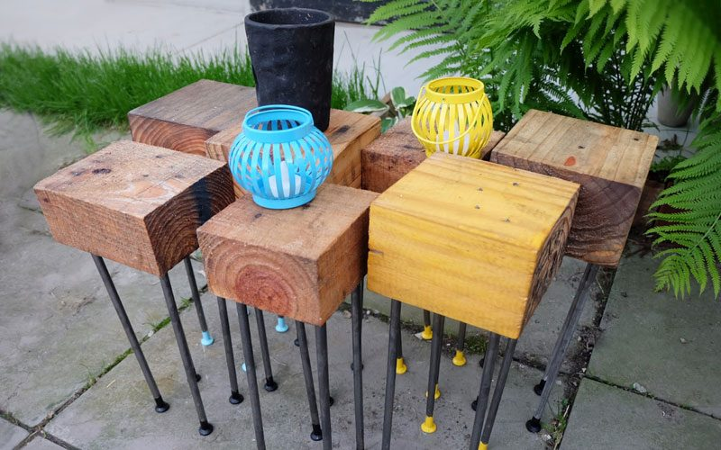 wood block patio tables