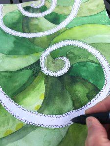 spiral dot watercolor