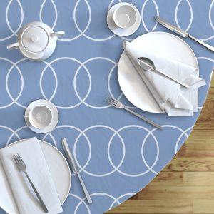 blue circle round table cloth