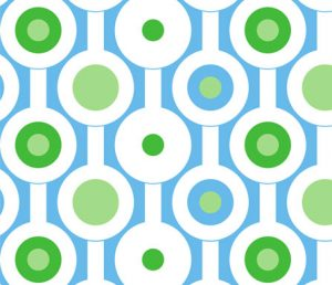 modern green circles fabric