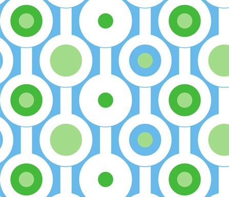 modern green circles fabric