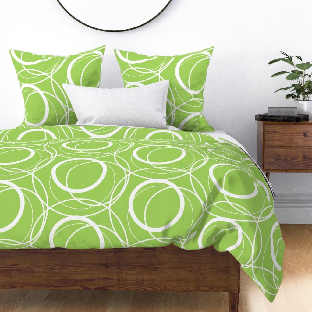 swirly green duvet cover