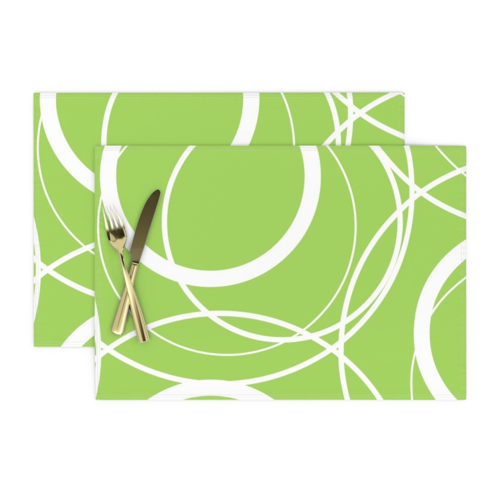 swirly green placemats