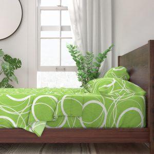 swirly green sheet set