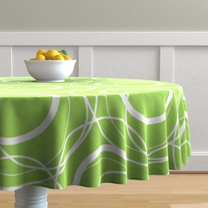 swirly green table cloth