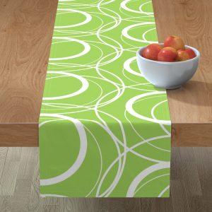 swirly green table runner