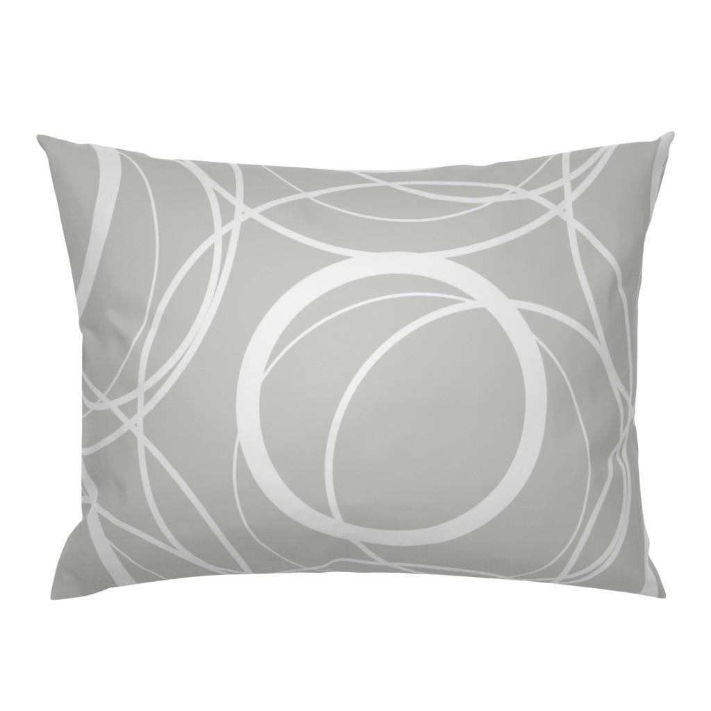 swirly grey pillow sham
