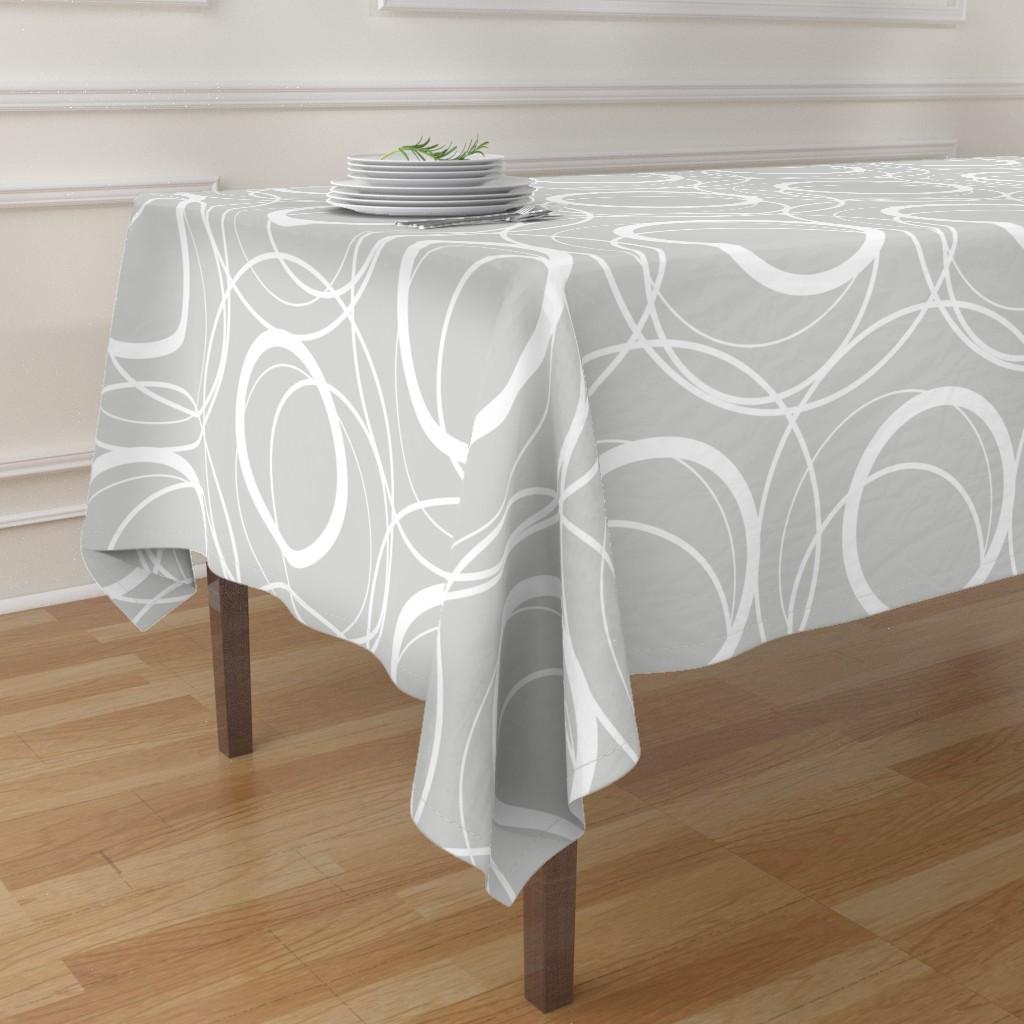 swirly grey table cloth