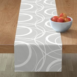 swirly grey table runner