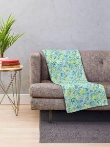 swirly spiral watercolor blanket