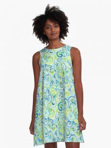 swirly spiral watercolor dress