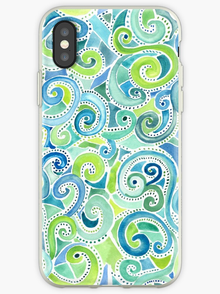 swirly spiral watercolor iphone case