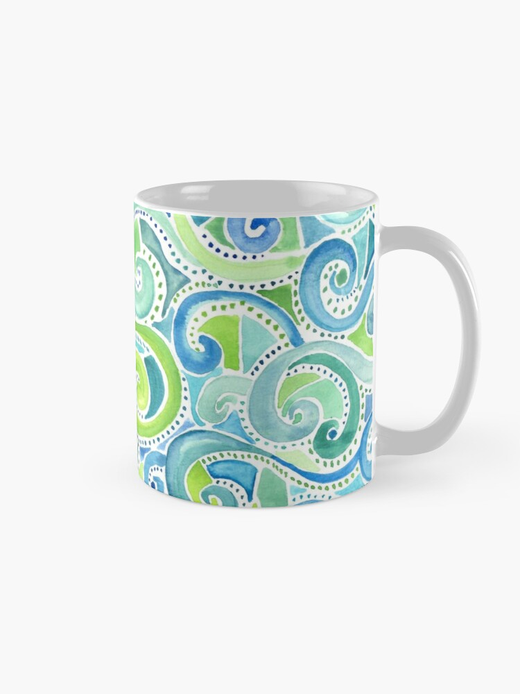 swirly spiral watercolor mug