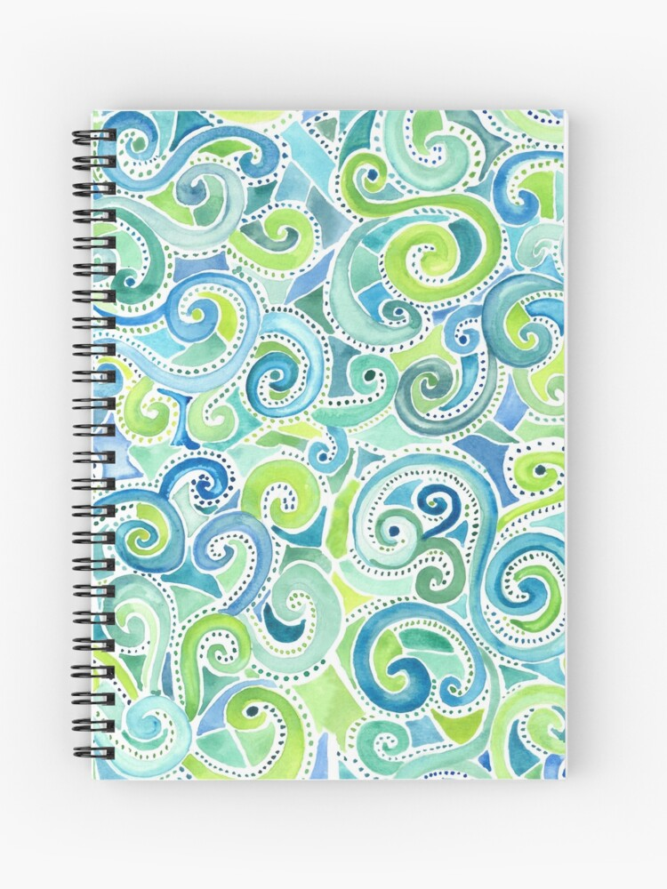 swirly spiral watercolor notebook