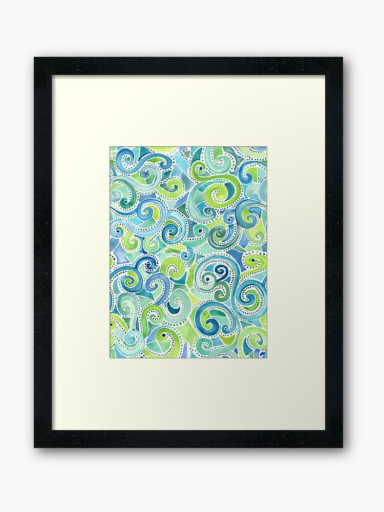 swirly spiral watercolor framed print