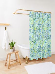 swirly spiral watercolor shower curtain