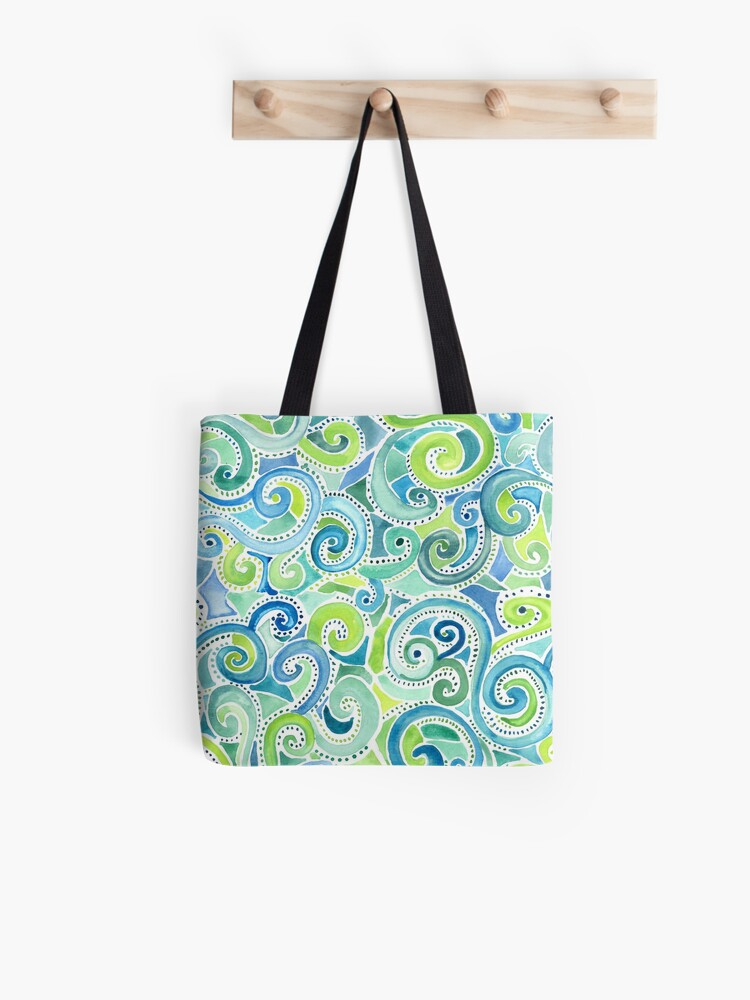 swirly spiral watercolor tote bag