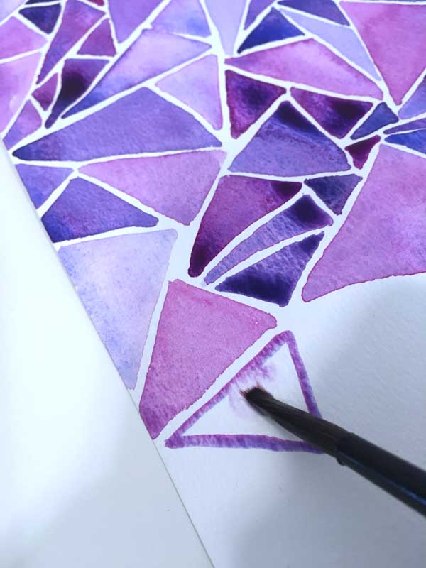 water color tutorial abstract triangles