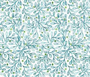blue foliage fabric-design