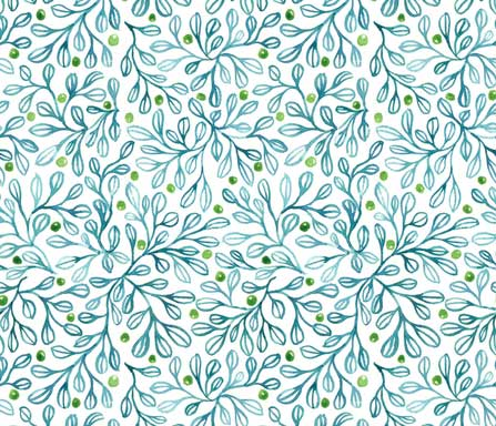 blue foliage fabric-design