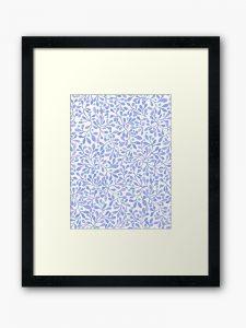 blue leaves framed art