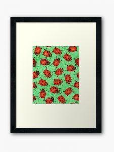 ladybird watercolor framed art