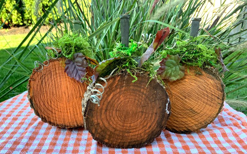 rustic wood pumpkins