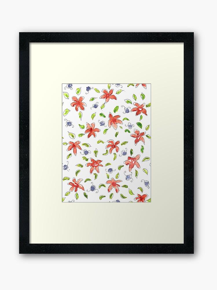 splodge floral framed art