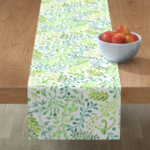 blue foliage table runner