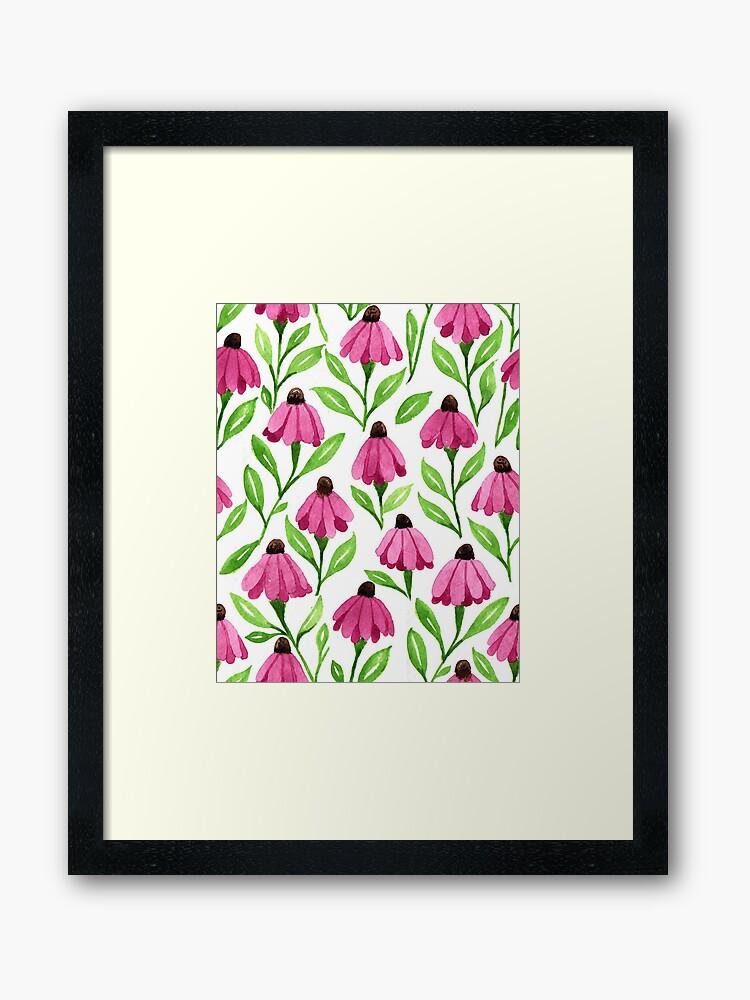 watercolor-cone-flower-framed-art